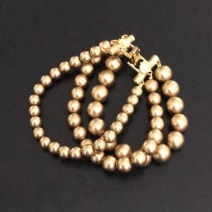 Vintage Three-Strand Gold Bead Bracelet